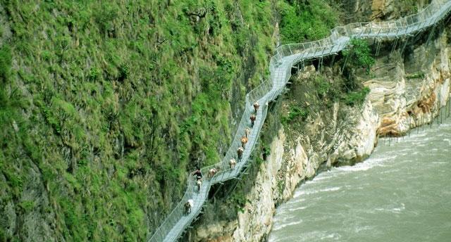 The Gorkha Bridge is a 195 m-long cantilever footbridge connecting Sirdibas and Kerauja, Manaslu Trek, Gorkha in Nepal