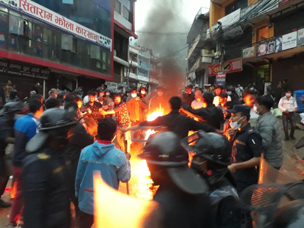 चार विद्यार्थी संगठनद्वारा विरोध प्रदर्शन
